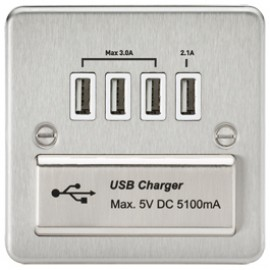 Knightsbridge FPQUADBCW 1G Quad USB Charger Outlet Brushed Chrome & White