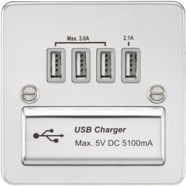 Knightsbridge FPQUADPCG Flat plate 1G quad USB charger outlet 5V DC 5.1A - polished chrome with grey insert