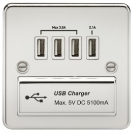 Knightsbridge FPQUADPCW 1G Quad USB Charger Outlet Polished Chrome & White