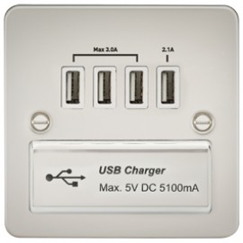 Knightsbridge FPQUADPLW 1G Quad USB Charger Outlet Pearl & White