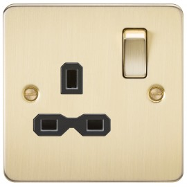Knightsbridge FPR7000BB Flat plate 13A 1G DP switched socket - brushed brass with black insert