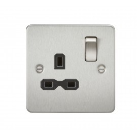 Knightsbridge FPR7000BC Flat plate 13A 1G DP switched socket - brushed chrome with black insert