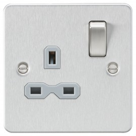 Knightsbridge FPR7000BCG Flat plate 13A 1G DP switched socket - brushed chrome with grey insert
