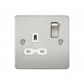 Knightsbridge FPR7000BCW Flat plate 13A 1G DP switched socket - brushed chrome with white insert