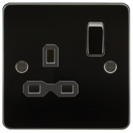 Knightsbridge FPR7000GM Flat plate 13A 1G DP switched socket - gunmetal with black insert