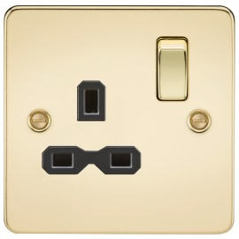 Knightsbridge FPR7000PB Flat plate 13A 1G DP switched socket - polished brass with black insert