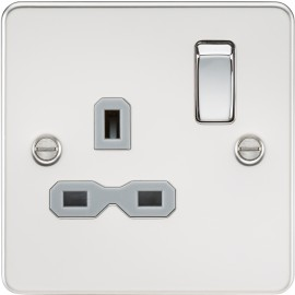 Knightsbridge FPR7000PCG Flat plate 13A 1G DP switched socket - polished chrome with grey insert