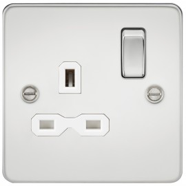 Knightsbridge FPR7000PCW Flat plate 13A 1G DP switched socket - polished chrome with white insert
