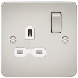 Knightsbridge FPR7000PLW Flat plate 13A 1G DP switched socket - pearl with white insert
