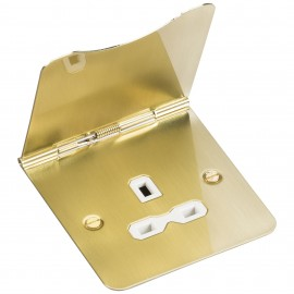 Knightsbridge FPR7UBBW 13A 1G unswitched floor socket - brushed brass with white insert