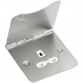 Knightsbridge FPR7UBCW 13A 1G unswitched floor socket - brushed chrome with white insert