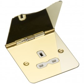 Knightsbridge FPR7UPBW 13A 1G unswitched floor socket - polished brass with white insert