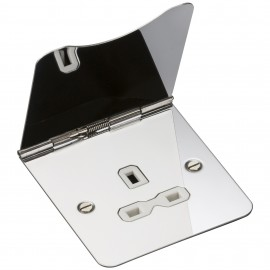 Knightsbridge FPR7UPCW 13A 1G unswitched floor socket - polished chrome with white insert