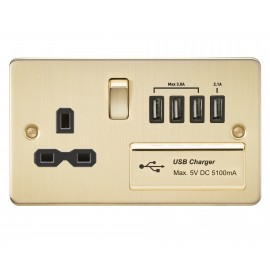 Knightsbridge FPR7USB4BB Flat plate 13A switched socket with quad USB charger - brushed brass with black insert