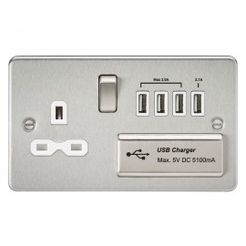 Knightsbridge FPR7USB4BCW Flat plate 13A switched socket with quad USB charger - brushed chrome with white insert