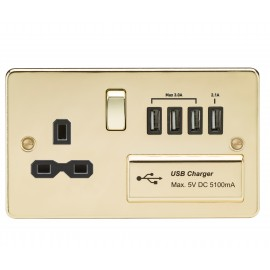 Knightsbridge FPR7USB4PB Flat plate 13A switched socket with quad USB charger - polished brass with black insert