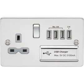 Knightsbridge FPR7USB4PCG Flat plate 13A switched socket with quad USB charger - polished chrome with white insert