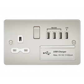 Knightsbridge FPR7USB4PLW Flat plate 13A switched socket with quad USB charger - pearl with white insert