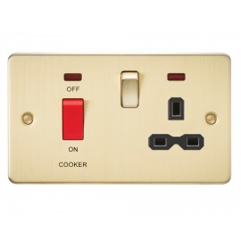 Knightsbridge FPR8333NBB Flat plate 45A DP switch and 13A switched socket with neon - brushed brass with black insert
