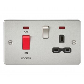 Knightsbridge FPR8333NBC Flat plate 45A DP switch and 13A switched socket with neon - brushed chrome with black insert