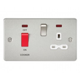 Knightsbridge FPR8333NBCW Flat plate 45A DP switch and 13A switched socket with neon - brushed chrome with white insert
