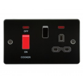 Knightsbridge FPR8333NGM Flat plate 45A DP switch and 13A switched socket with neon - gunmetal with black insert