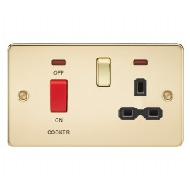 Knightsbridge FPR8333NPB Flat plate 45A DP switch and 13A switched socket with neon - polished brass with black insert