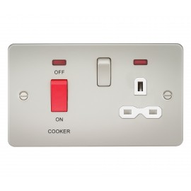 Knightsbridge FPR8333NPLW Flat plate 45A DP switch and 13A switched socket with neon - pearl with white insert