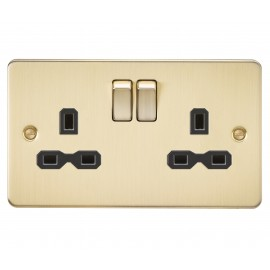 Knightsbridge FPR9000BB Flat plate 13A 2G DP switched socket - brushed brass with black insert