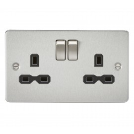 Knightsbridge FPR9000BC Flat plate 13A 2G DP switched socket - brushed chrome with black insert