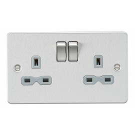 Knightsbridge FPR9000BCG Flat plate 13A 2G DP switched socket - brushed chrome with grey insert