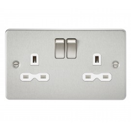 Knightsbridge FPR9000BCW Flat plate 13A 2G DP switched socket - brushed chrome with white insert