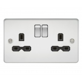 Knightsbridge FPR9000PC Flat plate 13A 2G DP switched socket - polished chrome with black insert