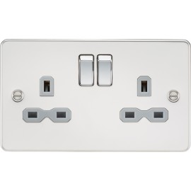 Knightsbridge FPR9000PCG Flat plate 13A 2G DP switched socket - polished chrome with grey insert