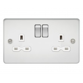 Knightsbridge FPR9000PCW Flat plate 13A 2G DP switched socket - polished chrome with white insert