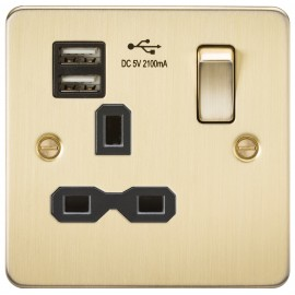Knightsbridge FPR9901BB Flat plate 13A 1G switched socket with dual USB charger - brushed brass with black insert