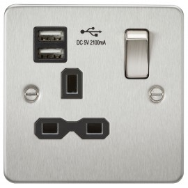 Knightsbridge FPR9901BC Flat plate 13A 1G switched socket with dual USB charger - brushed chrome with black insert