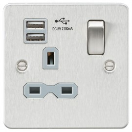 Knightsbridge FPR9901BCG Flat plate 13A 1G switched socket with dual USB charger - brushed chrome with grey insert