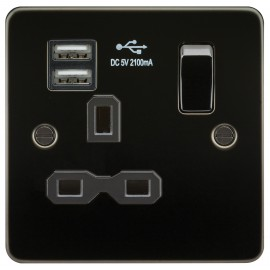 Knightsbridge FPR9901GM Flat plate 13A 1G switched socket with dual USB charger - gunmetal with black insert