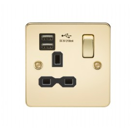Knightsbridge FPR9901PB Flat plate 13A 1G switched socket with dual USB charger - polished brass with black insert