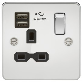 Knightsbridge FPR9901PC Flat plate 13A 1G switched socket with dual USB charger - polished chrome with black insert