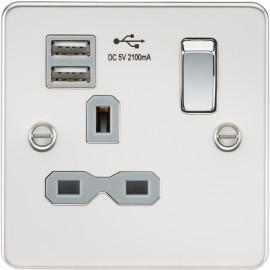 Knightsbridge FPR9901PCG Flat plate 13A 1G switched socket with dual USB charger - polished chrome with grey insert