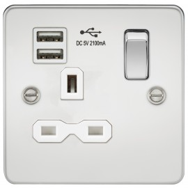 Knightsbridge FPR9901PCW Flat plate 13A 1G switched socket with dual USB charger - polished chrome with white insert