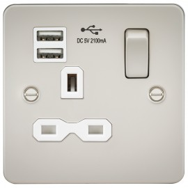 Knightsbridge FPR9901PLW Flat plate 13A 1G switched socket with dual USB charger - pearl with white insert