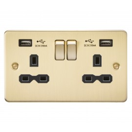Knightsbridge FPR9902BB Flat plate 13A 2G switched socket with dual USB charger - brushed brass with black insert