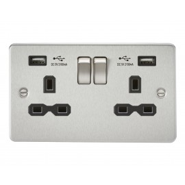 Knightsbridge FPR9902BC Flat plate 13A 2G switched socket with dual USB charger - brushed chrome with black insert