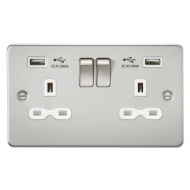 Knightsbridge FPR9902BCW Flat plate 13A 2G switched socket with dual USB charger - brushed chrome with white insert
