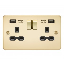 Knightsbridge FPR9902PB Flat plate 13A 2G switched socket with dual USB charger - polished brass with black insert