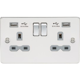 Knightsbridge FPR9902PCG Flat plate 13A 2G switched socket with dual USB charger - polished chrome with grey insert