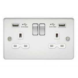Knightsbridge FPR9902PCW Flat plate 13A 2G switched socket with dual USB charger - polished chrome with white insert
